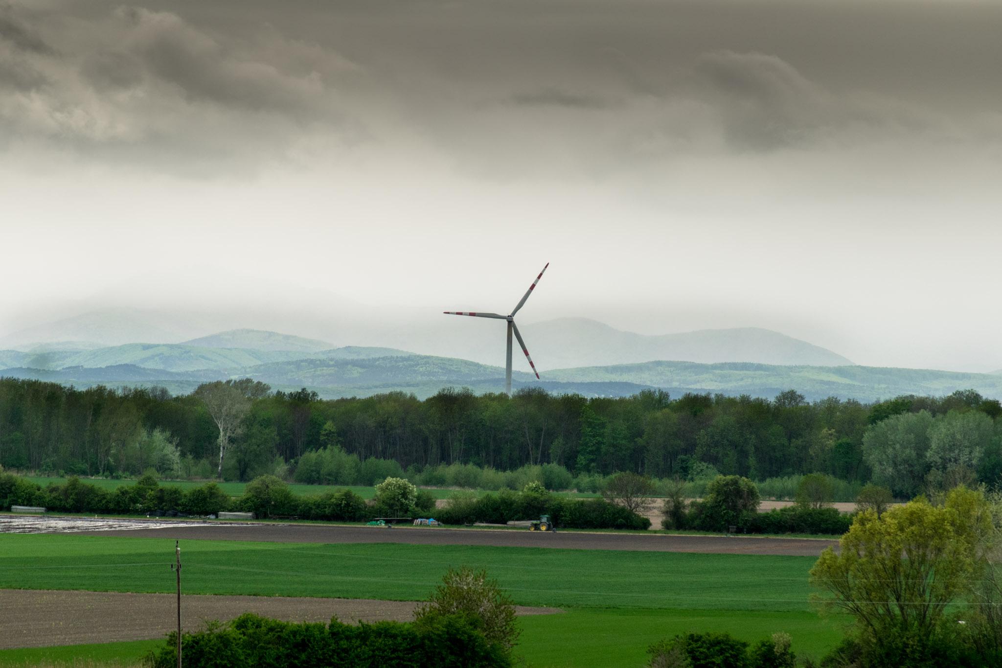 Windrad, im Hintergrund der Wienerwald